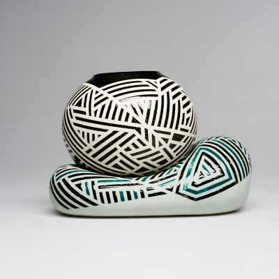 Pottery with a black and white design
