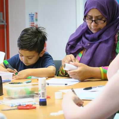 A child drawing at Gorton Library