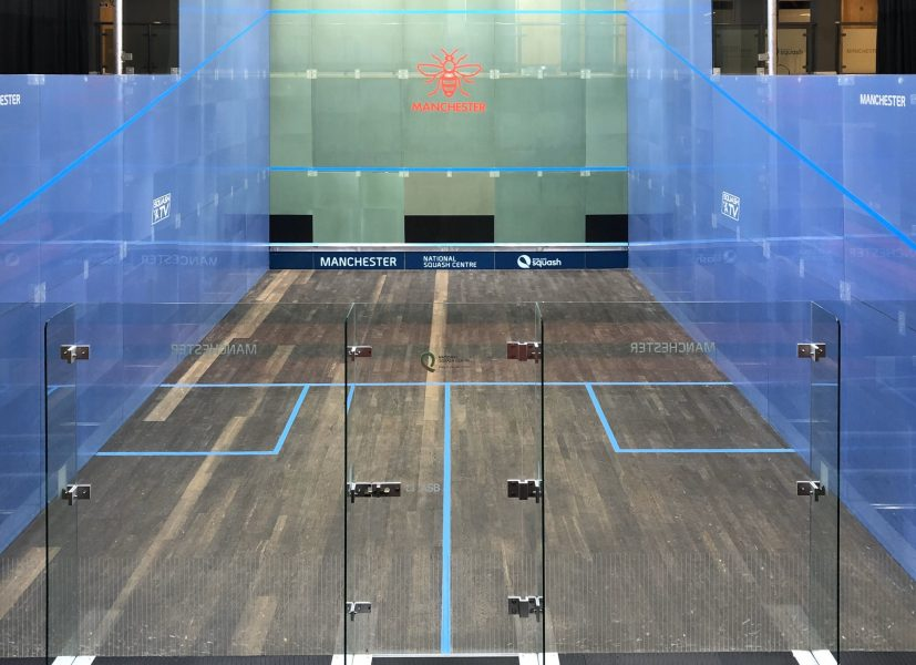 An empty squash court at the National Squash Centrein Beswick.