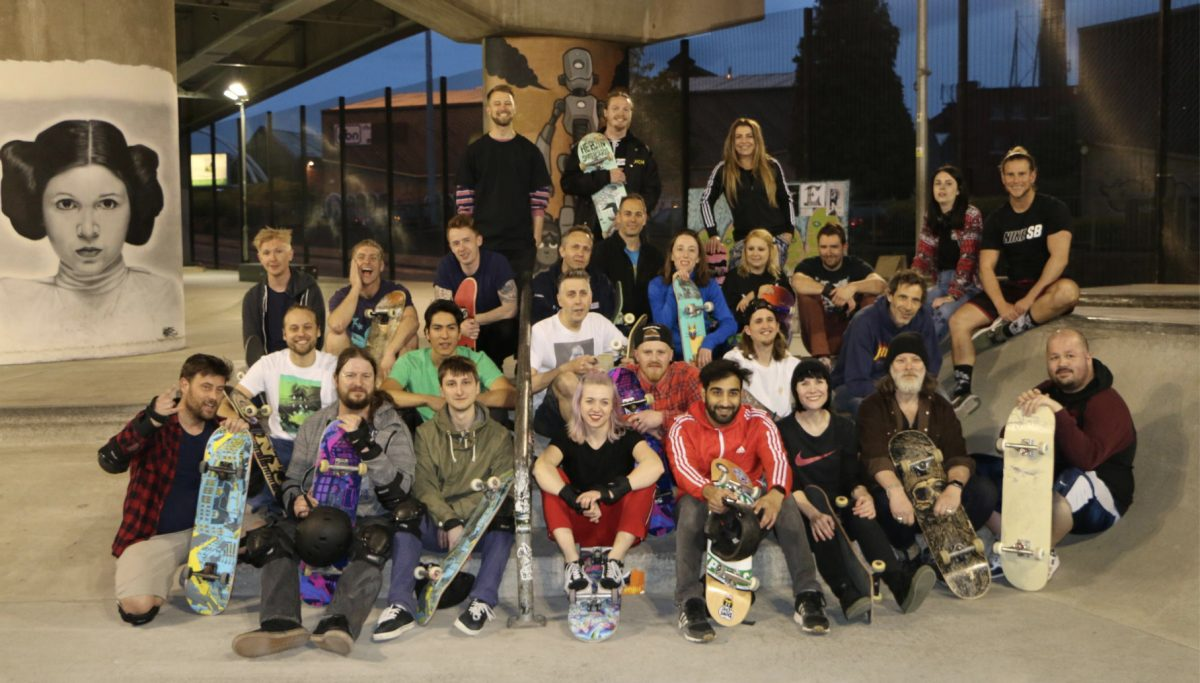 A group of people with skateboards