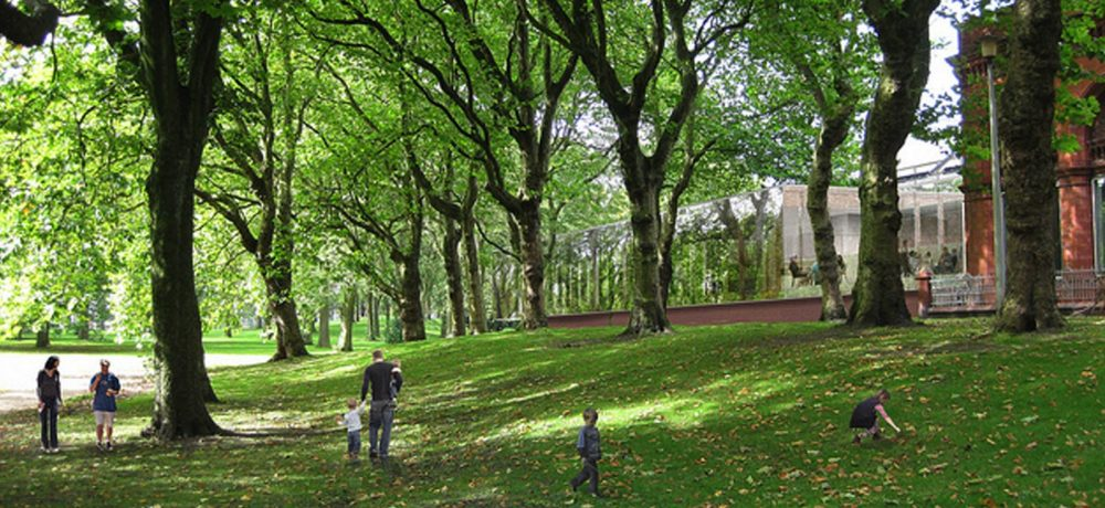 Families walking in Whitworth Park