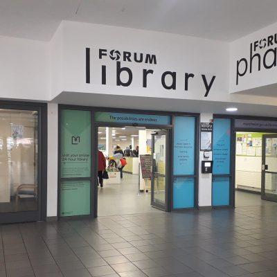 Main door to a library