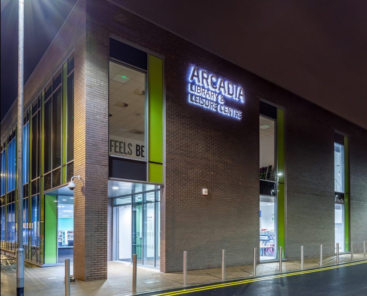 Outside the Arcadia Leisure Centre