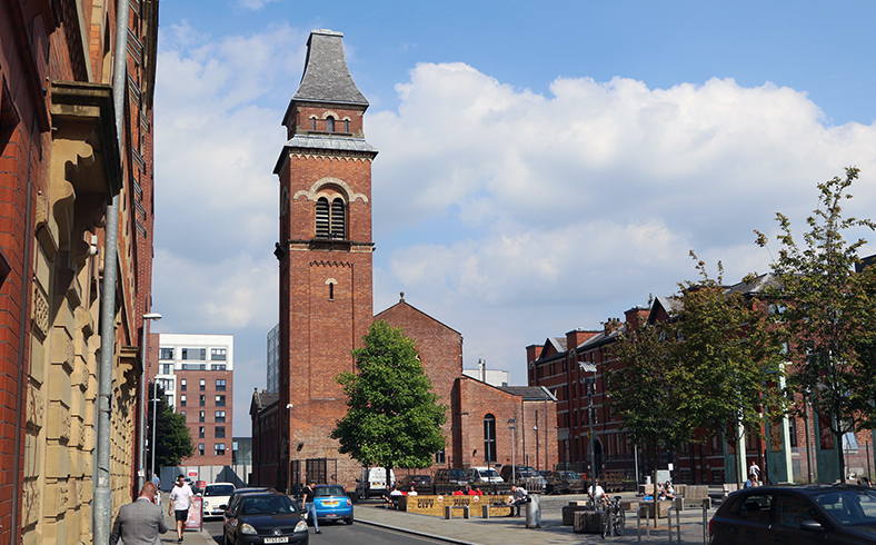 The tower of Halle St Peters in Ancoats