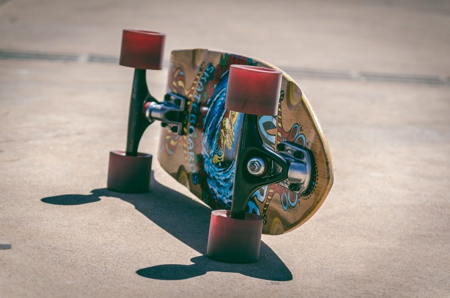 Skateboard on it's side the ground
