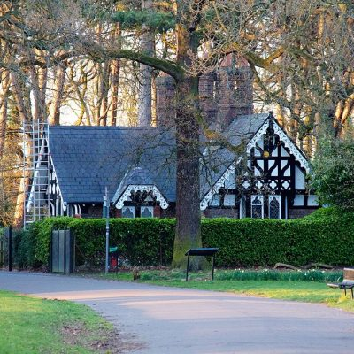 A park lodge between trees