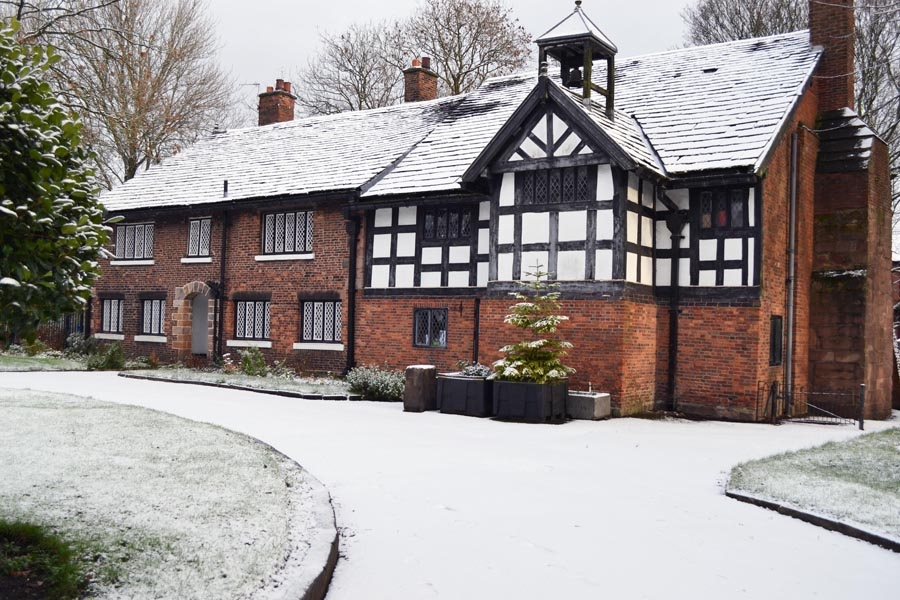 Clayton Hall in the snow
