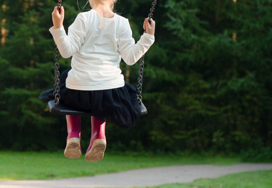 A child on a swing in a park