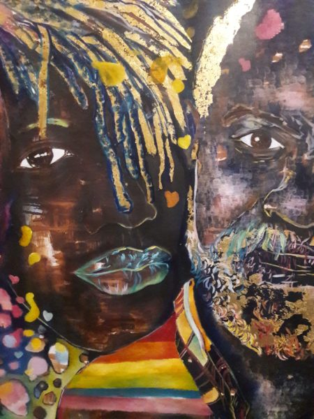 A painting of two people's faces