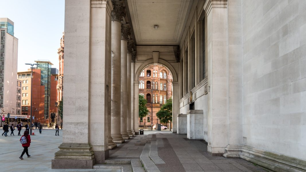 Looking through the portico of Central Library