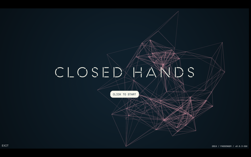 A black videogame screen with the words 'Closed Hands' in the centre. There is a button 'Click to Start' underneath.
