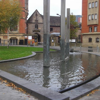A water feature outside Chetham's School of Music in Manchester.