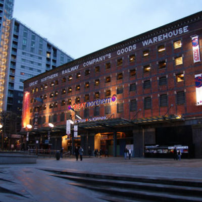The Great Northern Warehouse at night.