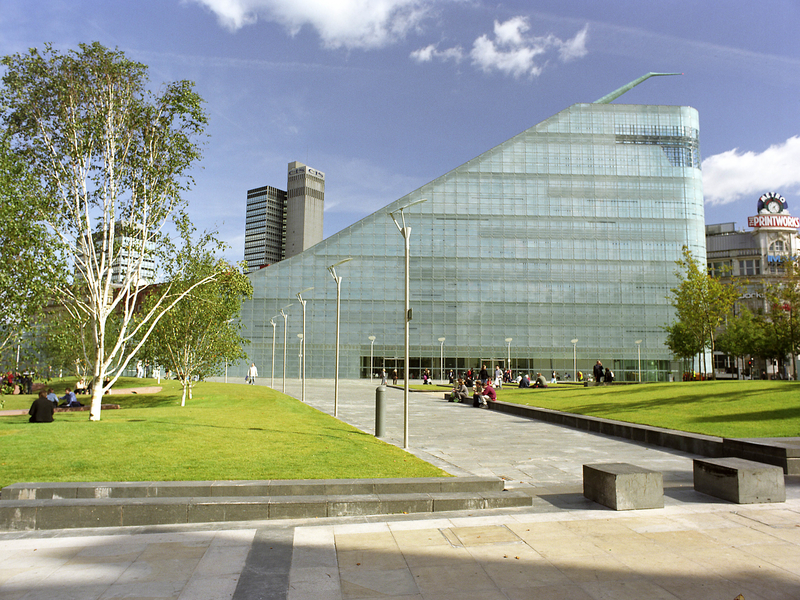 The National Football Museum and Cathedral Gardens on a sunny day.