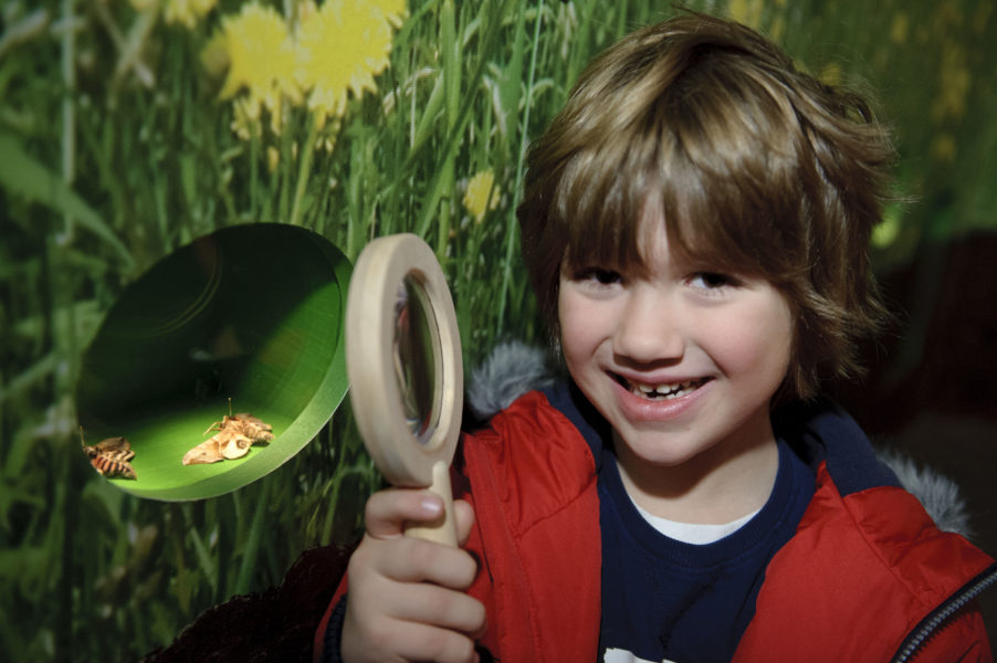 An enthusiastic young child stands in a museum holding a magnifying glass.