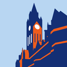 An abstract illustration of Manchester Town Hall. The Manchester Histories logo.