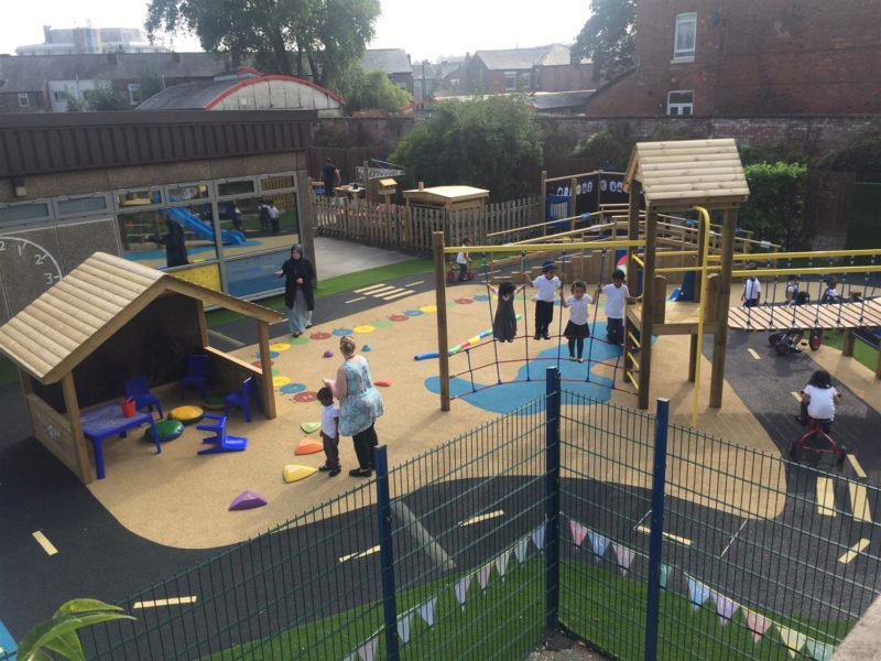 The outside play equipment at St Chrysostom's C of E Primary School.