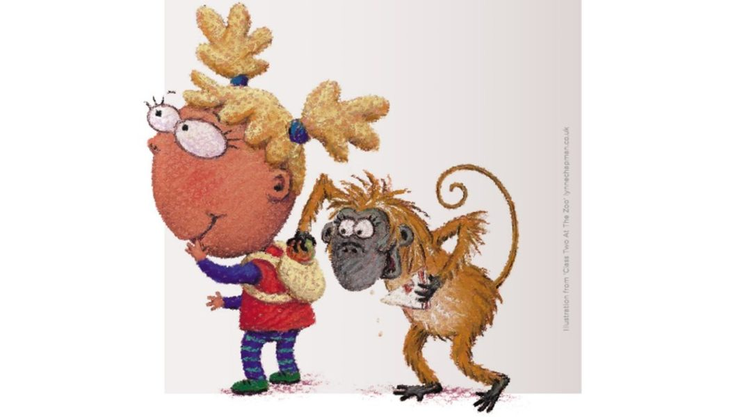 An illustration of a small child and a monkey from Class Two at the Zoo by Lynne Chapman.