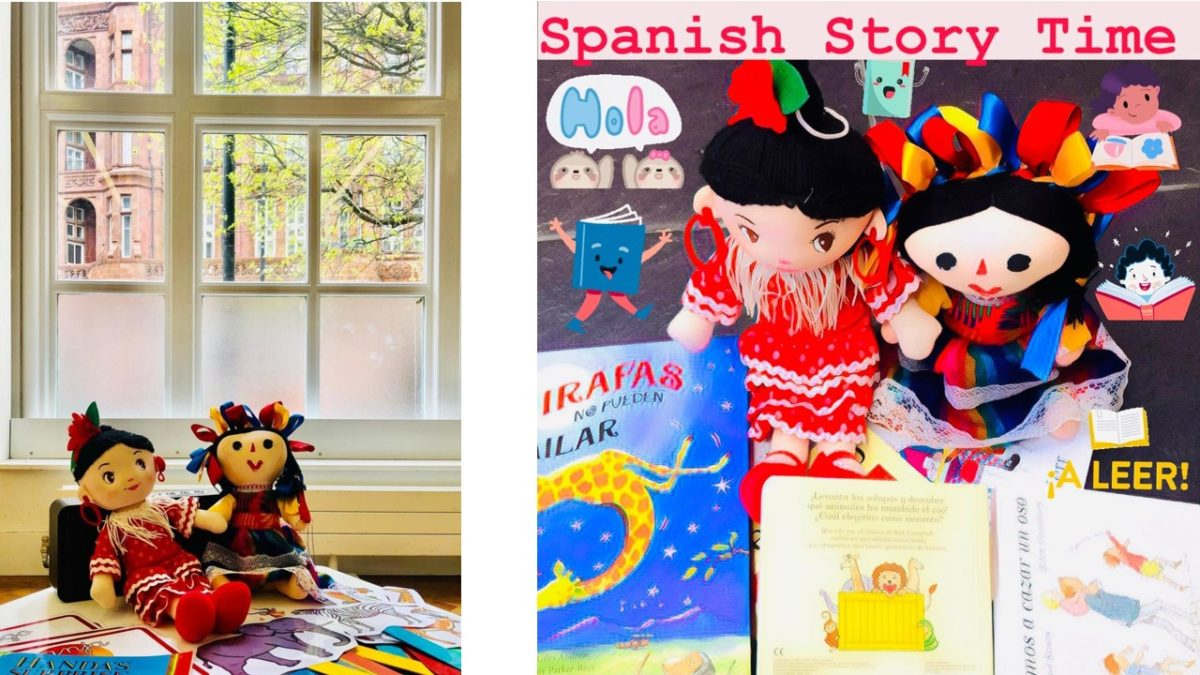 Spanish Storytime poster with with two dolls