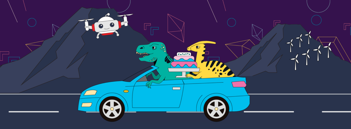 Dinosaurs in a blue car chasing a drone